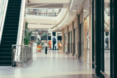 interior of modern shopping mall building. Shallow DOF
